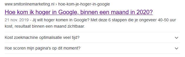 hoger in google serp Hoe kom ik hoger in Google, binnen een maand?