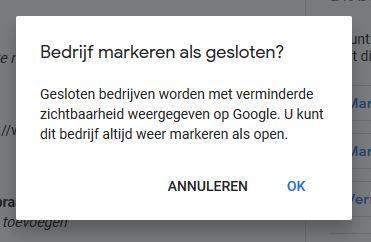google mijn bedrijf tijdelijk gesloten weergave Bedrijf tijdelijk gesloten instellen bij Google Mijn Bedrijf.