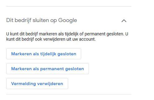 google mijn bedrijf tijdelijk gesloten Bedrijf tijdelijk gesloten instellen bij Google Mijn Bedrijf.