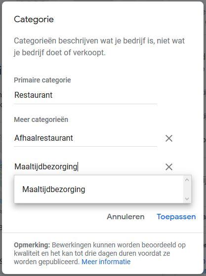 google mijn bedrijf toevoegen categorien Bedrijf tijdelijk gesloten instellen bij Google Mijn Bedrijf.